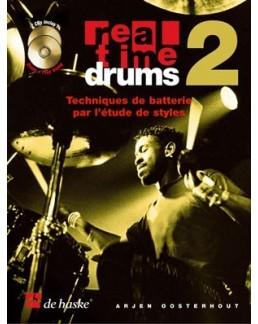 """Real time drums """"Techniques de batterie par l'étude des styles"""" vol 2 avec CD"""