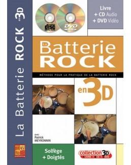 La batterie rock en 3D avec CD et DVD