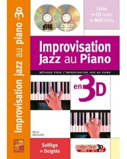 Improvisation jazz au piano en 3D Maugain CD + DVD