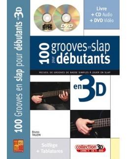 100 grooves en slap pour débutants en 3D Bruno Tauzin CD + DVD